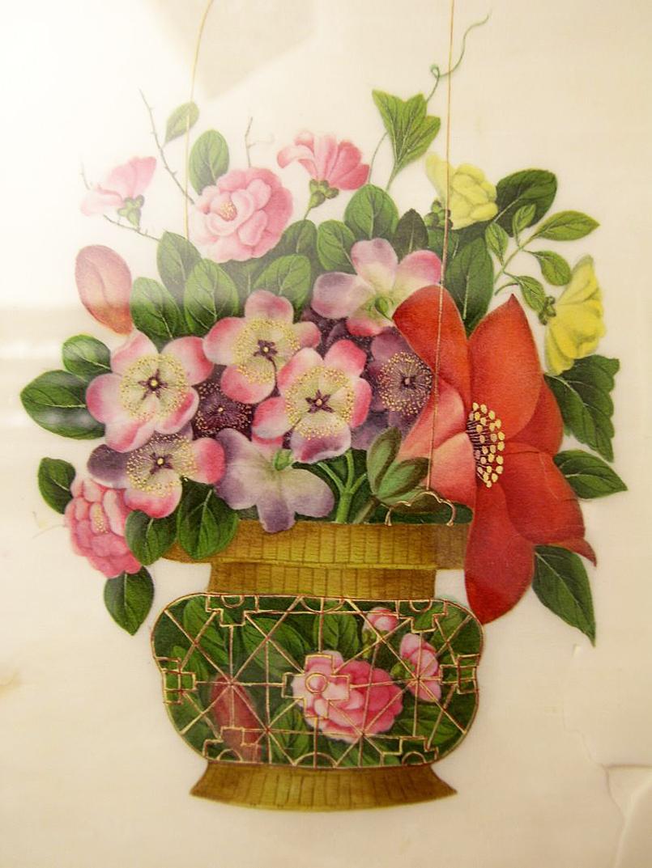 Blumen aquarell im rahmen reispapier china chinesische qing malerei 19